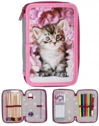 Piórnik Szkolny Kotek dla Dziewczyny Dwukomorowy RAM-022