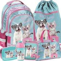 Szkolny Plecak dla Dziewczyny w Komplecie z Kotem Psem [PTK-181]