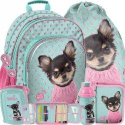 Szkolny Plecak z Pieskiem w Różowym Sweterku [PQD-090]