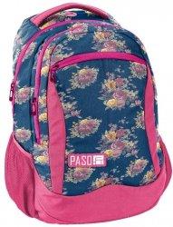 Plecak Młodzieżowy Szkolny Niebieski w Kwiaty [18-2808UX]
