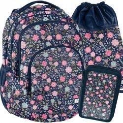 Duży Plecak Młodzieżowy w Kwiaty Zestaw dla Dziewczyny [PPMZ19-2706]