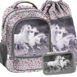 Plecak Szkolny w Białe Konie dla Dziewczyny Zestaw [PP19HS-260]