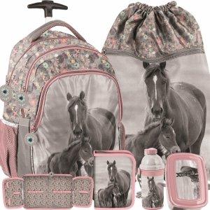 Plecak z Kółkami w Konie Szkolny dla Dziewczynki Różowy [PP20KO-997]