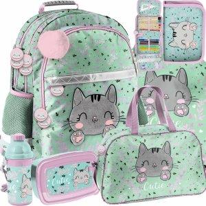 Plecak Szkolny Kotki dla Dziewczyny Paso w odcieniach zieleni [PP21CA-116]