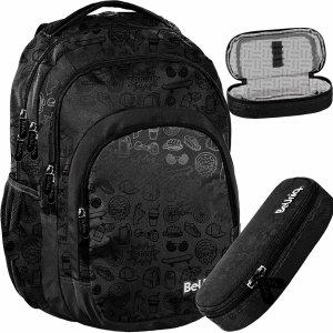Czarny Plecak dla Młodzieży Szkolny dla Chłopaków BeUniq Zestaw [PPIC20-2706]