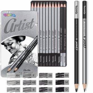 Ołówki do Rysowania Wysoka Jakość w Metalowym Pudełku 12 szt Colorino [80118PTR]