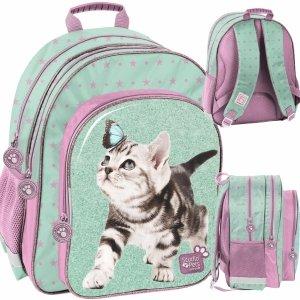 Plecak Szkolny Kotki Dziewczęcy w Koty do 1 Klasy [PTN-090]