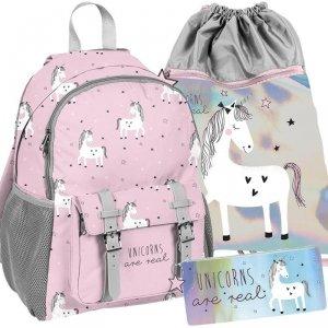 Komplet Plecak Jednorożec dla Dziewczynki Szkolny Różowy [PP19UN-810]