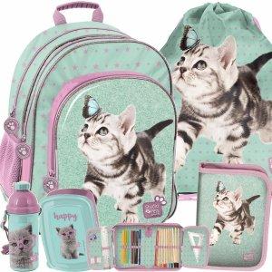 Plecak Szkolny Dziewczęcy z Motylkiem i Kotkami Paso [PTN-090]