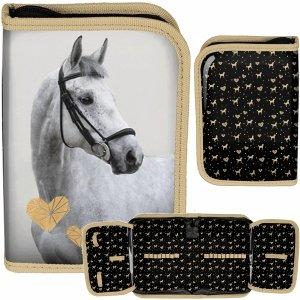 Piórnik Siwy Koń dla Dziewczyny Rozkładany z Końmi [PP20H-001BW]