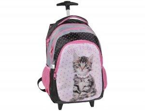 Plecak na Kółkach z Kotkiem Kot Kotek Szkolny dla Dziewczyny RHD-997