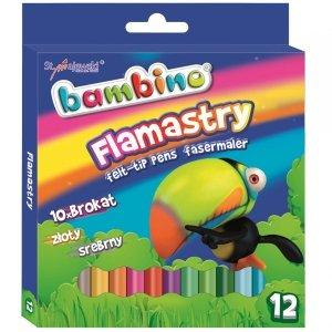 Flamastry Brokatowe Mazaki Bambino 12 Kolorów Markery [8634]