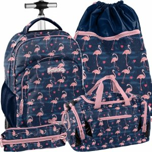 Modowy Plecak na Kółkach Młodzieżowy Flamingi Damski [PPNG20-1231]