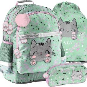 Miętowy Plecak Szkolny Kotek  dla Dziewczyny Paso [PP21CA-116]