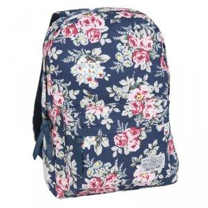 Plecak Vintage Młodzieżowy Szkolny w Kwiaty Róże