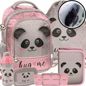 Panda na Plecaku Szkolnym dla Dziewczynki Różowy z Uszami [PP20PA-260]