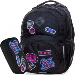 CP CoolPack Plecak Czarny z Naszywkami [B19056]