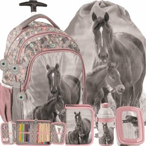 Konie Plecak na Kółkach z Końmi Szkolny dla Dziewczyny [PP20KO-997]