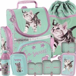 Tornister dla Uczennicy z Kotem Motylkiem Komplet dla Dziewczyny [PTN-525]