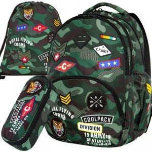 Plecak CoolPack CP MORO Młodzieżowy z Naszywkami Green [A16110]