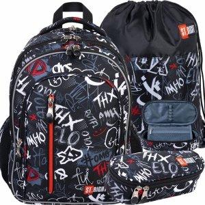 Zestaw 3w1 Plecak XD Graffiti Szkolny St.Right Napisy [BP68]