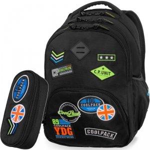 Czarny Cp CoolPack Plecak Młodzieżowy z Naszywkami [B24055]