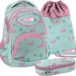 Plecak Młodzieżowy Komplet w Flamingi [PPLF19-2708]