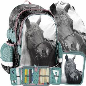 Szkolny Plecak dla Dziewczynki z Koniem Koń Zestaw 3w1 [PP21KE-081]