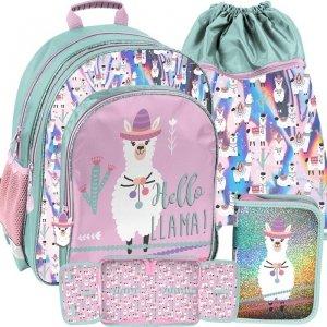 Modowy Plecak Szkolny w Lamy Różowy dla Dziewczyny [PP19LA-090]
