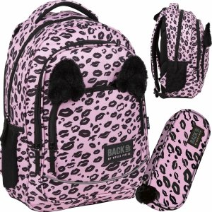 Plecak Pluszowe Uszami BackUP Szkolny Różowy Panterka [PLB3YA17]