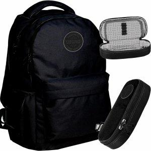 Czarny Plecak Vintage Młodzieżowy BeUniq Szkolny [PPNE20-2705/16]