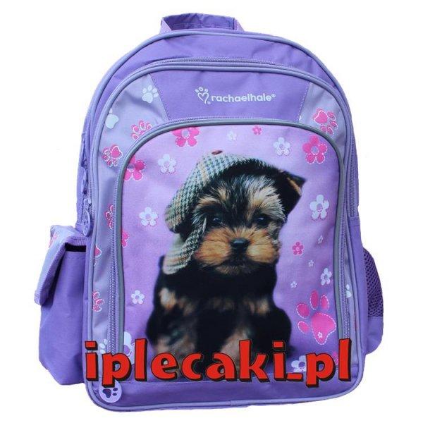 plecak szkolny z pieskiem w czapce kolor fioletowy dla dziewczyny