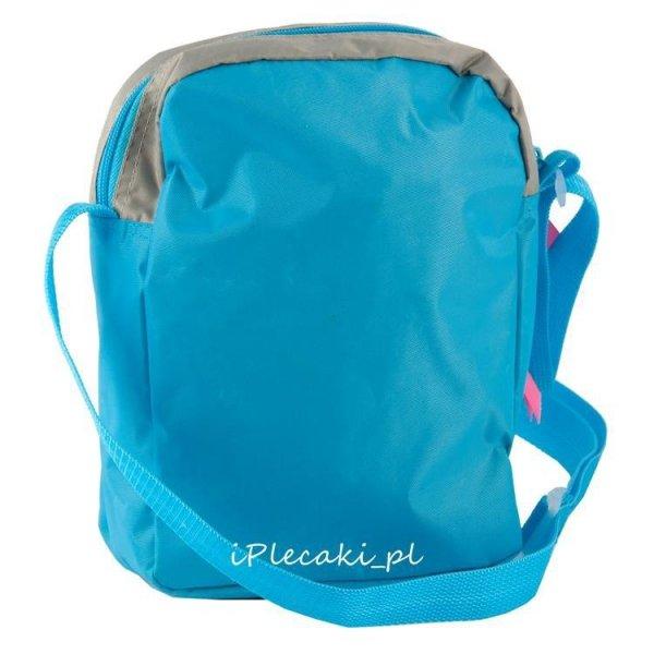 torebka w pieski szara niebieska na pasku ramię