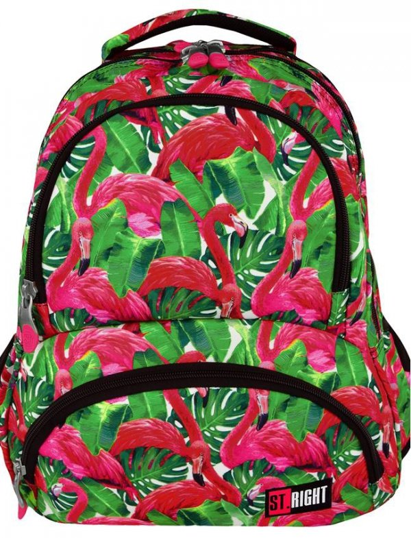 Plecak St. Right Młodzieżowy Szkolny Flamingo Pink & Green [BP7]