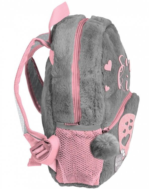 Plecak do Przedszkola Plecaczek Pluszowy z Kotkiem dla Dziewczynki [PLC-305]