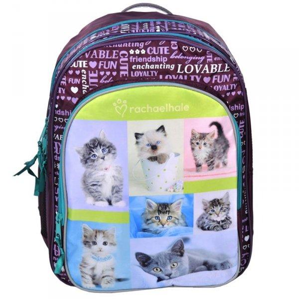 Plecak Szkolny Różowy z Kotem do Szkoły dla Dziewczyny Fioletowy