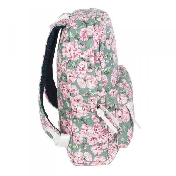 Plecak Vintage dla Dziewczyny Młodzieżowy Szkolny Kwiaty na Zielonym Tle 17-223E
