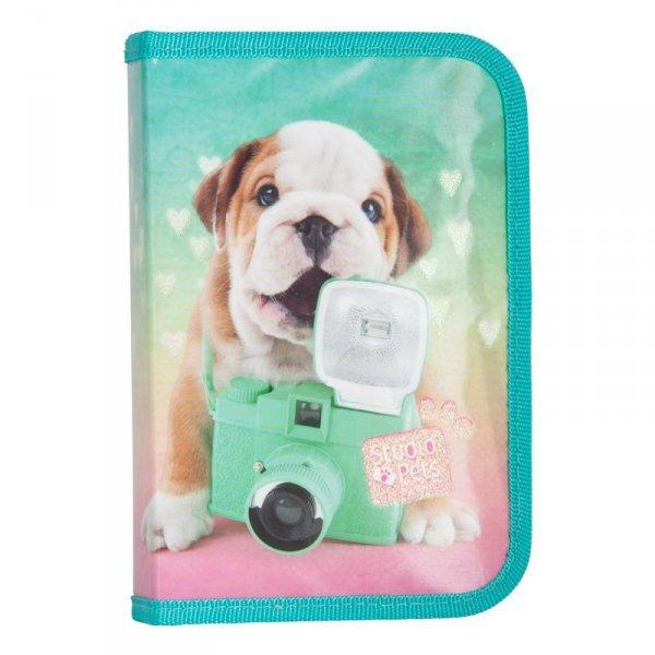 Piórnik Pies Szkolny dla Dziewczyny z Wyposażeniem Zielony