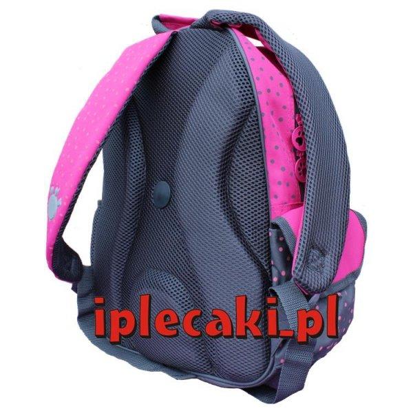 plecak szkolny z pieskiem różowy szary