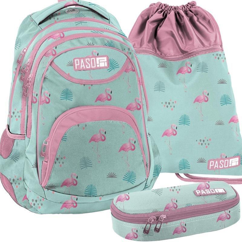 bff411cdff786 Plecak Młodzieżowy Komplet w Flamingi [PPLF19-2708] iplecaki.pl