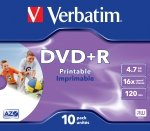 1x10 Verbatim DVD+R 4,7GB Jewel 16x Speed, printable