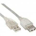 Przedłużacz InLine USB 2.0 A 3m - przeźroczysty