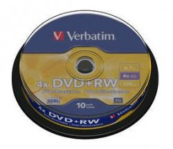 1x10 Verbatim DVD+RW 4,7GB 4x Speed, matte silver Cakebox