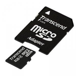 Transcend MicroSD Karte SDHC 4GB + Adapter / Class 4