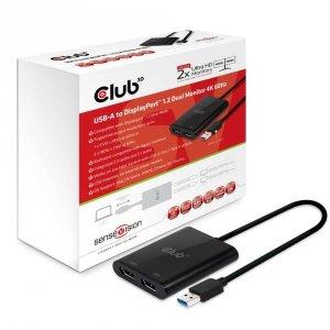Club3D Adapter USB 3.1 Typ A > 2x DP 1.2 4K@60Hz aktiv męski/żeński retail