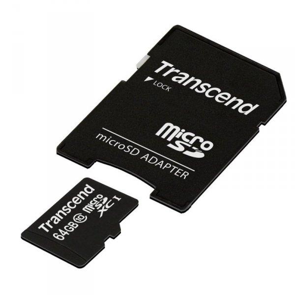 Transcend microSDXC 64GB Class 10 300x + SD Adapter