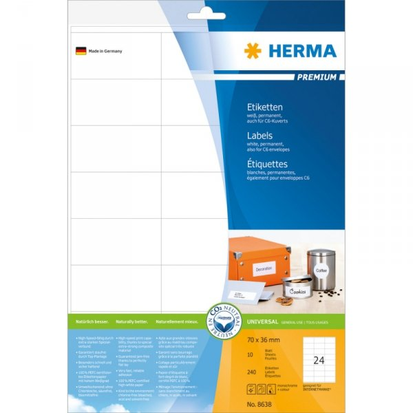 Herma Labels 70x36 biały matte 10 sheets DIN A4 240 Pcs.   8638