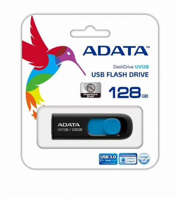 ADATA USB 128GB 40/90 UV128 - niebieski - USB 3.0