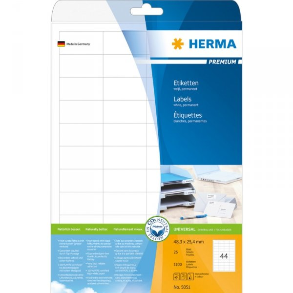 Herma Labels 48,3x25,4 permanent biały,25 sheets, 1100pcs, 5051