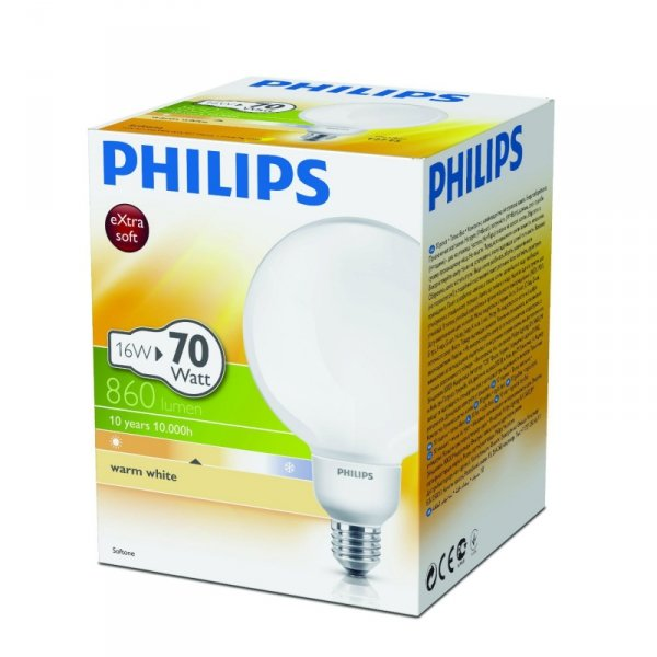 Philips SPL E27 W-wh Softone 16W
